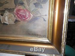 Vintage Yard Long Oil Painting Red Pink & White Roses Framed & Signed Dated 1912
