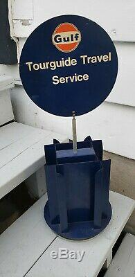 Vintage advertising gulf oil gas station map display rack sign metal
