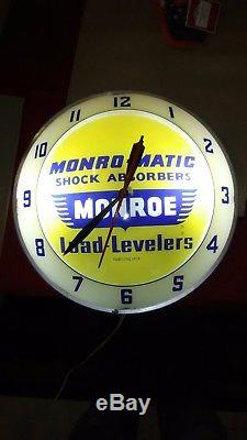 Vintage c. 1960 Monroe Shock Absorbers Gas Oil Lighted Double Bubble Clock Sign