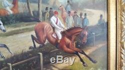 Vintage equestrian hunt scene horses english country gilt framed painting signed