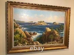Vintage huge gilt framed original signed oil painting on Canvas South France
