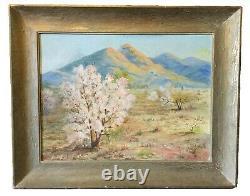 Vintage oil painting. California desert. Bertha May Faris Davis. Bertha Sessions