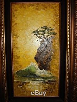 Vintage oil painting Framed wave rock bonsai tree lance artist signed MUST SEE