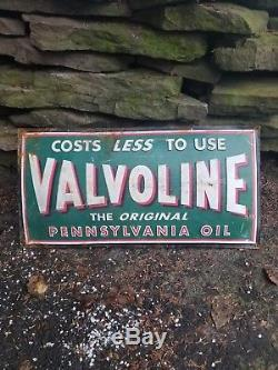 Vintage old Valvoline embossed motor oil metal sign gas station general store