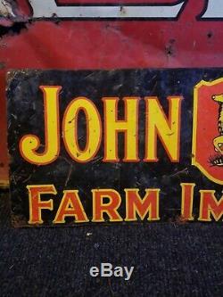 Vintage old original John Deere metal sign farm tractor barn gas oil embossed