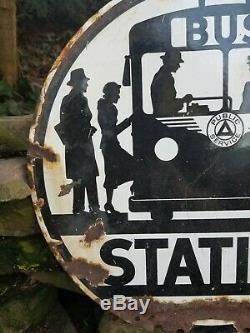 Vintage old porcelain original double sided bus stop station sign oil gas car