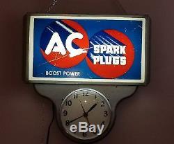 Vintage Original 1950's Ac Spark Plug Gas Oil Lighted Clock