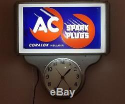Vintage original 1950's AC Spark Plug Gas Oil Lighted Clock 2 Signs Works