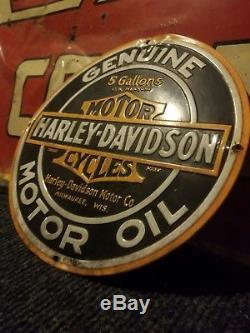 Vintage original Harley Davidson motorcycle motor oil sign metal gas rare Indian