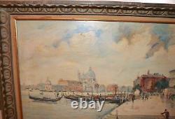 Vintage original P. Myers 1963 Venice Italy cityscape landscape oil painting