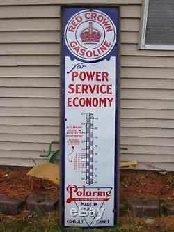 Vtg 1924 Red Crown Gasoline Standard Oil Polarine Porcelain Thermometer 6' Sign
