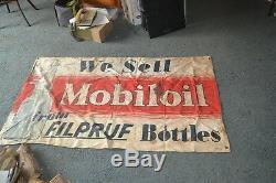 Vtg 1930s Mobiloil Gargoyle Mobil Oil Litho BANNER Sign Filpruf Bottles