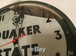 Vtg 1953 Quaker State Oil Pam Lighted Advertising Clock Sign 4/Parts Restoration