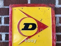 Vtg 1977 Dunlop Tires Embossed Metal Sign Vertical 60 Gas & Oil Station