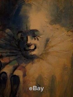 Vtg ART 32 Creepy Clown Oil Painting With VTG Frame signed by artist SCHEALL