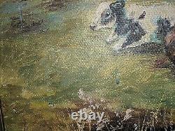 Vtg Antique Sigrid Beck Knudsen Oil Painting on Canvas of Cows Calves Landscape