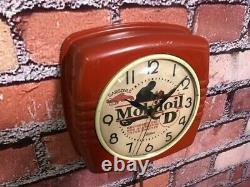 Vtg Ge Mobil Oil-gargoyle Old Motorcycle Gas Station Advertising Wall Clock Sign