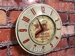 Vtg Ge Texaco Oil Fire Chief Old Gas Station Advertising Display Wall Clock Sign