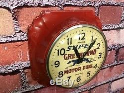 Vtg Ingraham Advertising Greyhound Fuel-oil Gas Station Garage Wall Clock Sign