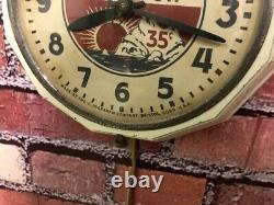 Vtg Ingraham Esso Oil Old Gas Station Advertising Display Wall Clock Sign Gulf