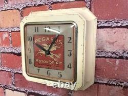 Vtg Ingraham Mobil Oil-pegasus Old Gas Station Advertising Wall Clock Sign-shell