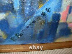 Vtg Mid Century Danish Modern Framed Signed Abstract Oil Art Painting Modernist