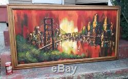 Vtg Mid Century Modern Cityscape Oil Painting on Masonite Board Signed Michael