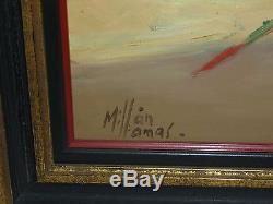 Vtg Mid Century Modernist Matador Bullfight Oil Painting Signed Millan Lamas