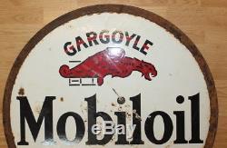 Vtg Mobiloil GARGOYLE Mobil Oil Gas Porcelain Double Sided Sign Lollipop Socony