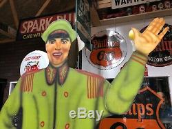 WOW! 1940's Vintage ORIGINAL Animated WAVING BELL HOP Advertising Sign Gas Oil