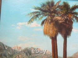 Weidhofer Oil Painting Vintage Early California Landscape Desert Palms 1950's