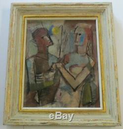 William Munson Abstract Rare Cubism Painting Portrait 1940's Vintage Modernism