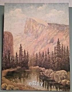 Yosemite Half Dome Signed Vintage Oil On Canvas Landscape Painting 1934